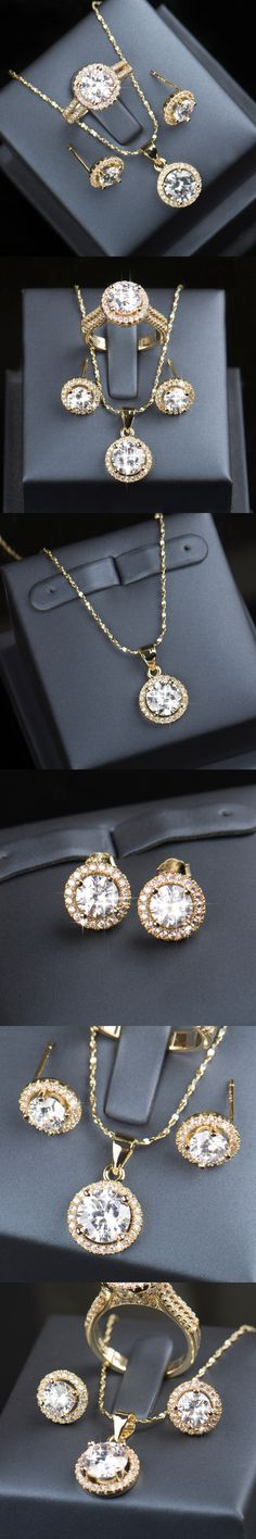 90% off Wedding Jewelry Sets for Brides 925 Sterling Silver Set Gold Plated Stud Earrings Ring Necklace Bridal Jewelry