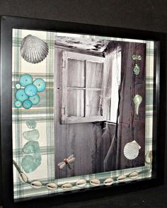Beach Cottage Shadow Box - Repurposed - Art - Photography - Shabby Chic - Assemblage - Vintage Quality - Home Decor - Wall Art - Upcycled. $30.00, via Etsy.