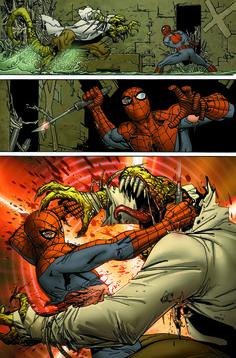 Spider-man VS Lizard by Giuseppe Camuncoli Spiderman Sam Raimi, Spiderman Art, Amazing Spiderman, Spiderman Tattoo, Marvel Comics Art, Marvel Heroes, Marvel Characters, Comic Art Community, Spectacular Spider Man