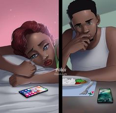 Ghanaians Have A Lot Of Feelings About This Simple Illustration By Poka Arts Black Couple Art, Black Girl Art, Black Couples, Art Girl, Black Cartoon, Cartoon Art, Poka Arts, Couple Noir, Flipagram Instagram