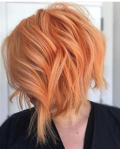 Matte Orange Textured Bob making are easier with 3 barrel curling iron