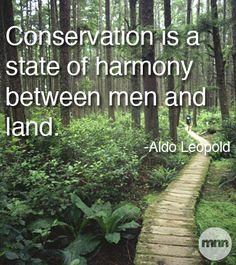 """""""Conservation is a state of harmony between men and land."""" / """"La conservation est une état d'harmonie entre les hommes et la terre."""" -Aldo Leopold"""
