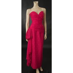 Next Valentino Fuchsia Silk Chiffon Evening Gown ❤ liked on Polyvore featuring dresses, gowns, fuchsia dress, pink gown, silk chiffon dress, pink ball gown and fuchsia evening dresses
