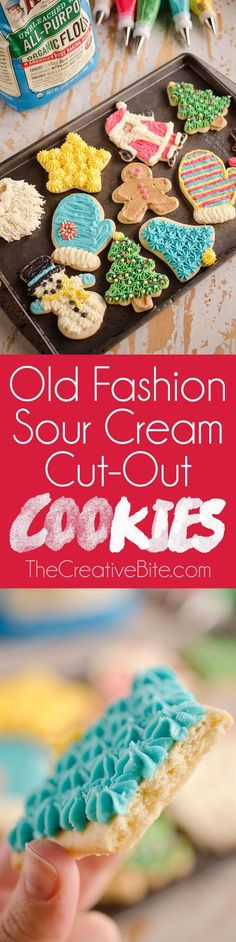 Old Fashion Sour Cream Cut-Out Cookies are the perfect sugar cookie with a cake-like softness, finished off with the most decadent and delicious buttercream! #Holiday #Cookie http://www.thecreativebite.com/old-fashion-sour-cream-cut-out-cookies/?utm_campaign=coschedule&utm_source=pinterest&utm_medium=Danielle%20%7C%20The%20Creative%20Bite&utm_content=Old%20Fashion%20Sour%20Cream%20Cut-Out%20Cookies