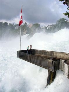 Not me! i kind of quit breathing looking at the picture.Observation Deck, Rhine Falls, Zurich, Switzerland photo via dan Places Around The World, Oh The Places You'll Go, Travel Around The World, Places To Visit, Around The Worlds, Wonderful Places, Beautiful Places, Top Places To Travel, Les Cascades