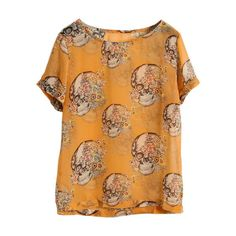 Skull Print Orange Blouse (550 MXN) ❤ liked on Polyvore featuring tops, blouses, shirts, t-shirts, beige shirt, shirts & blouses, shirts & tops, orange shirt and orange top