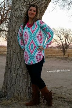 Aztec Couture Turquoise Tunic $ 32 Like us on Facebook @ GypZ Ranch