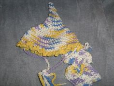 Crochet Baby Elf Hat and booties for Newborn by craftheart on Etsy, $11.50