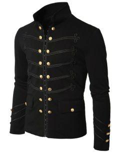 Amazon.com: Doublju Mens Jacket with Button Detail: Clothing