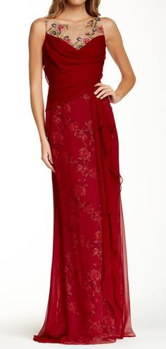 Marchesa Notte Embroidered Floral Silk Gown jaglady