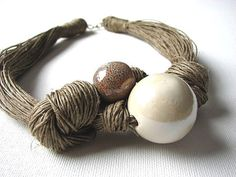 Ceramic Cream linen necklace by GreyHeartOfStone on Etsy, $28.00
