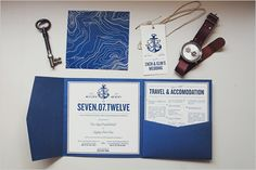 Nautical wedding invitation with key and other accessories. Cruise Wedding, Our Wedding, Dream Wedding, Nautical Wedding Invitations, Wedding Stationary, Party Invitations, Military Wedding, Island Weddings, Beach Weddings