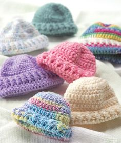 Preemie Hats Knitting, Crochet Pattern | Red Heart