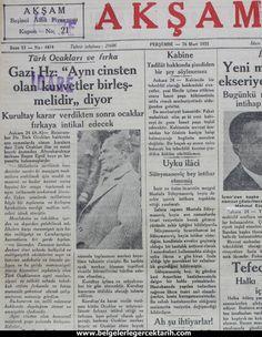 m. kemal atatürk mason localari m. kemal atatürk türk ocaklari aksam gazetesi 26 Mart 1931 Turkey Country, Newspaper Headlines, Great Leaders, Once Upon A Time, Nostalgia, History, Historia, Ouat