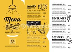 Vector Art : hipster and vintage art restaurant menu design template.
