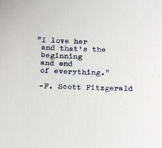 F. Scott Fitzgerald quote typed on a vintage typewriter