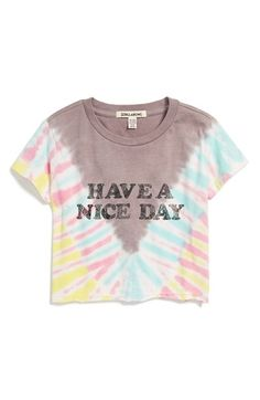 Billabong 'No Bad Tides' Tie Dye Crop Top (Big Girls) available at Kids Graphic Design, Girls Crop Tops, Tie Dye Crop Top, Inspiration For Kids, Billabong, Nordstrom, T Shirts For Women, Tees, Clothes