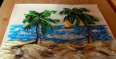Graphic quilled landscape seaside nature scene