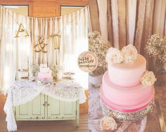 Burlap and lace backdrop, silver cake stand