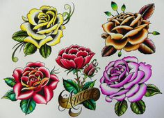 Tattoos make your choice for a free tattoo sample flash. Rose Stem Tattoo, Carnation Tattoo, Flower Tattoo Hand, Flower Tattoo Meanings, Flower Tattoo Shoulder, Flower Tattoo Designs, Traditional Tattoo Wallpaper, Traditional Rose Tattoos, Traditional Roses