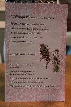 Bethany M's Birthday / Garden Fairy - Photo Gallery at Catch My Party Fairy Birthday Party, Birthday Parties, Birthday Ideas, Fairy Party Invitations, Diy Party, Party Ideas, Fairy Tea Parties, Fairies Photos, Party Planning