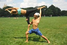 Acroyoga Poses in the park - couples and partner yoga