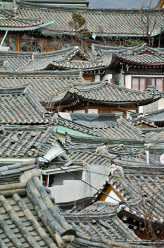 Tradional roof in Bukchon, Seoul