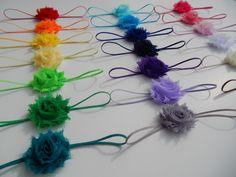 You Pick 5  MINI Shabby Chic Rose Headband by LauraBethCreations, $9.75 Diy Baby Headbands, Rose Headband, Baby Crafts, Shabby Chic, Hair Accessories, Bows, Unique Jewelry, Mini, Handmade Gifts