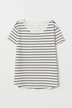 adb6fa92f092 Cotton T-shirt - Natural white striped - Ladies