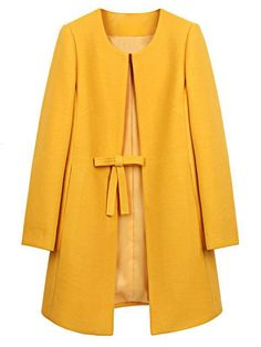 Wool Coat Women abrigos mujer winter Long Jacket Coats Elegant Solid 3 Colors Plus Size Abrigos Mujer invierno 2016 Casaco Look Fashion, Autumn Fashion, Womens Fashion, Fashion Coat, Long Overcoat, Collarless Jacket, Yellow Coat, Mode Outfits, Winter Outfits
