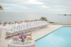beach wedding reception by the pool