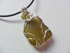 Olive green sea glass necklace with wire by ShePaintsSeaglass
