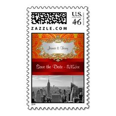 NY City Skyline BW 112 Red Gold Paisley Save Date Stamp