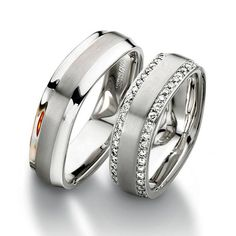 Unique Swiss wedding bands by Furrer Jacot at Manfredi Jewels store. Furrer Jacot rings bear the label of the highest quality for rings and offer a lifetime warranty. For more info on this product call us: Stacked Wedding Rings, Wedding Rings For Women, Wedding Sets, Wedding Bands, Rings For Men, Engagement Ring Photos, Engagement Jewelry, Wedding Ring Designs, Jewels