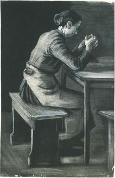 Woman Praying by Vincent Van Gogh - 1743 - Drawing