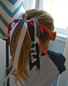 Ponytail Streamer Tutorial Tip Junkie Volleyball Hair Bows, Softball Bows, Cheer Bows, Softball Uniforms, Softball Party, Volleyball Ideas, Cheerleading Gifts, Volleyball Gifts, Ribbon Hair Ties