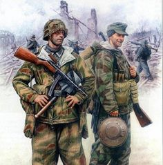 a russian book called Military Chronicles showing two german army soldiers during the late war period: