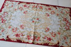 3' X 5' Silk Aubusson Rug Beige Red Ivory Gold Finest Aubussons Delicate #137 | eBay