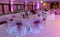 Pretty Pink theme accompanied by a Stunning Starlit White Dance Floor - London Wedding Decor - OMG that's so cute!!!