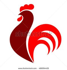 Rooster. Cock. Abstract rooster logo, cock icon. Red fire rooster as symbol of new year 2017 in Chinese calendar. Vector illustration of rooster, cock, design element for new year 2017 greeting cards