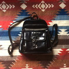 OWN Vintage 90s Faux Leather Black Mini Backpack with Front Buckle  |  Minimal  |  Hipster  |  Grunge