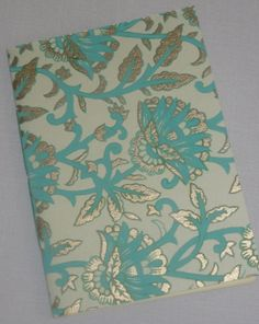 Notebook Sewn Spine Teal and Gold Floral by inkmeetspaperdesign, $10.00