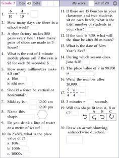 Mental Math Grade 4 Day 40 | Math4 | Pinterest | Mental maths and Math