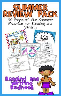Summer Reading and Writing Pack This is a summer themed pack containing a variety of activities appropriate for 1st, 2nd, and 3rd graders. It can be used in school as an end of the year activity/review; teachers could send it home for kids to work on during the summer to keep skills fresh, or parents and homeschoolers could buy it themselves. It contains activities on the following topics: antonyms rhymes (3 differentiated levels) writing, fiction and non fiction poetry cause and effect…