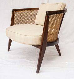 Mid Century Modern vintage cane barrel chair