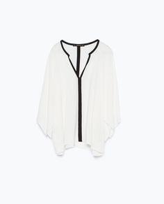 But Blue with white trim - Image 8 of KIMONO BLOUSE from Zara