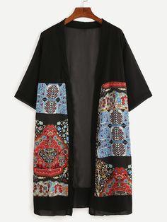 SheIn offers Vintage Print Chiffon Longline Kimono & more to fit your fashionable needs. Batik Fashion, Hijab Fashion, Fashion Dresses, Chiffon Kimono, Print Chiffon, Batik Mode, Iranian Women Fashion, Womens Fashion, Motif Kimono