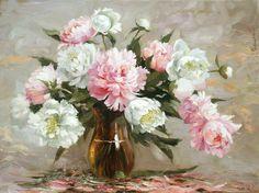 Николаев Юрий. Розовые и белые пионы