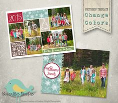 Christmas Card PHOTOSHOP TEMPLATE - Family Christmas Card 139 by SugarfliesDesigns on Etsy https://www.etsy.com/listing/259179120/christmas-card-photoshop-template-family