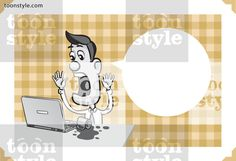 Greeting card with businessman spilling coffee on laptop computer – personalize your card with a custom text